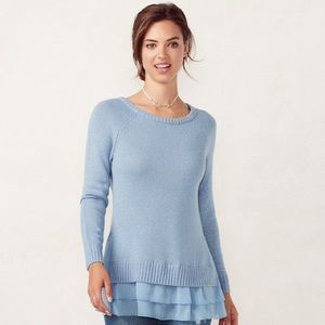 LC Lauren Conrad Tiered Light Blue Sweater